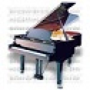 Piano and music sheet icon